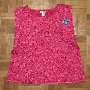 NEW Pink Blouse Pleated with Iridescent sequins